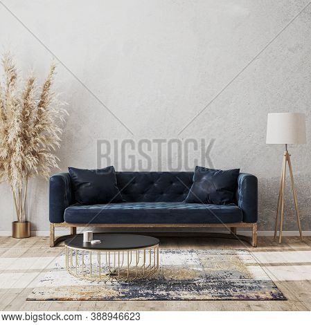 Modern Living Room Luxury Interior Design Mock Up With Dark Blue Sofa, Decorative Rug, Floor Lamp An