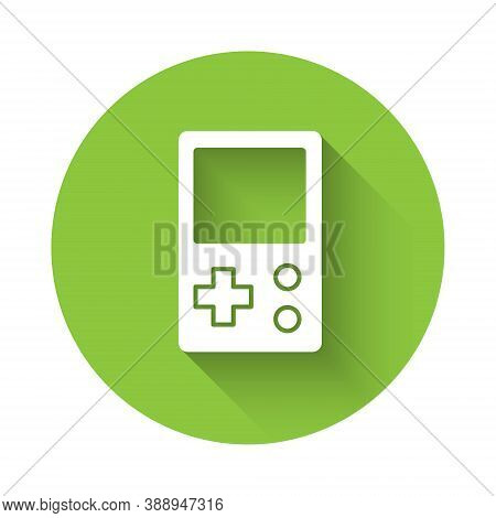 White Portable Tetris Electronic Game Icon Isolated With Long Shadow. Vintage Style Pocket Brick Gam