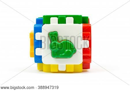 Logic Sorter Cube With Plastic Figures Of Animals. Educational Multi-colored Plastic Cube For Childr