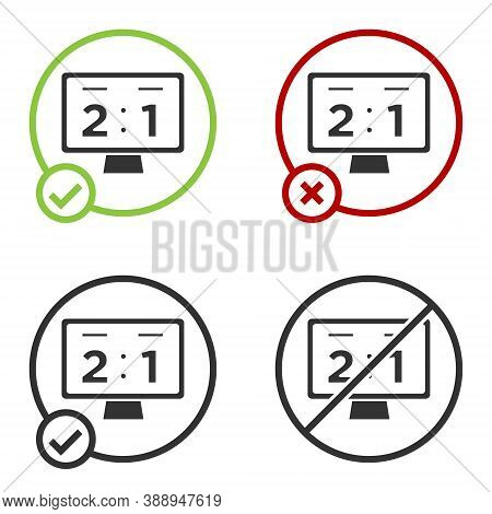 Black Sport Mechanical Scoreboard And Result Display Icon Isolated On White Background. Circle Butto