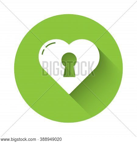White Heart With Keyhole Icon Isolated With Long Shadow. Locked Heart. Love Symbol And Keyhole Sign.