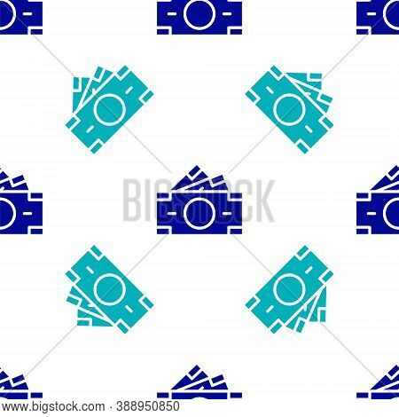 Blue Stacks Paper Money Cash Icon Isolated Seamless Pattern On White Background. Money Banknotes Sta