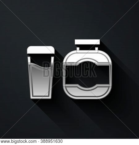 Silver Sports Nutrition Bodybuilding Proteine Power Drink And Food Icon Isolated On Black Background