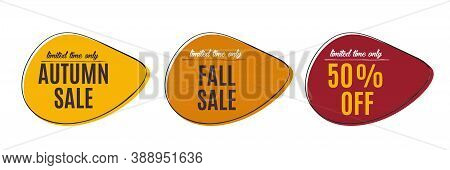 Autumn Sale, 50 Off, Fall Discount Tag, Banners Design Template, Vector Eps 10
