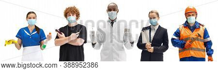 Group Of People With Different Professions On White Background, Horizontal. Modern Workers Of Divers