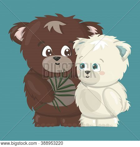 White Polar And Brown Grizzly Smiling Happy Bears Are In Love Cartoon Vector Illustration On Blue Ba