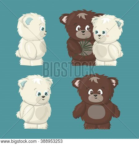 White Polar And Brown Grizzly Smiling Happy Bears Poses Set Are In Love Cartoon Vector Illustration