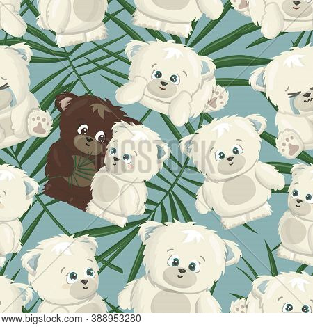 White Polar And Brown Grizzly Smiling Happy Bears Poses Seamless Pattern Are In Love Cartoon Vector