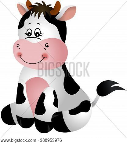 Scalable Vectorial Representing A Happy Cow Sitting, Element For Design, Illustration Isolated On Wh