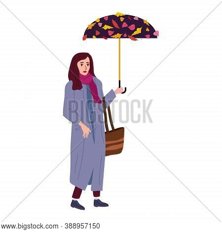 Young Woman In The Autumn Park City With Umbrella, Trendy Clothes Street Fashionable Style Outwear F