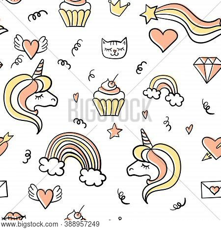 Girly Seamless Pattern With Cute Fashion Colored Doodles On White Background. Vector Illustration.