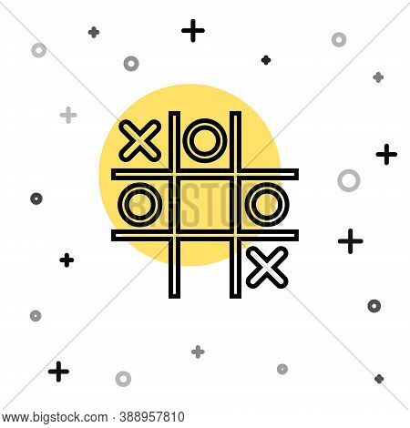Black Line Tic Tac Toe Game Icon Isolated On White Background. Random Dynamic Shapes. Vector