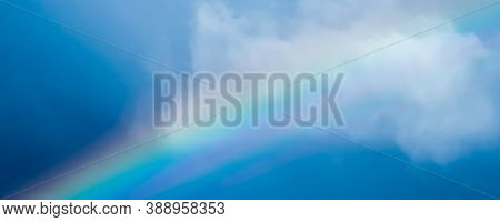 Rainbow In A Dreamy Blue Sky, Spiritual And Nature Background
