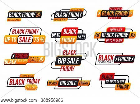 Black Friday Shopping Label On White Background. Black Friday Tag Collection. For Art Template Desig