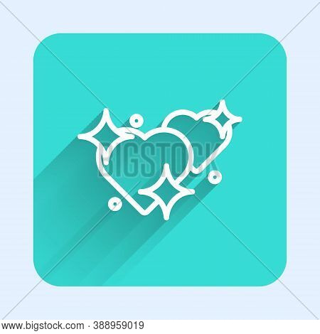 White Line Two Linked Hearts Icon Isolated With Long Shadow. Romantic Symbol Linked, Join, Passion A