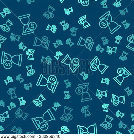 Green Line Hourglass With Dollar Icon Isolated Seamless Pattern On Blue Background. Money Time. Sand