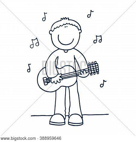 Boy Guitar Player Flat Illustration. Smiling Teenager Holding Electric Guitar Cartoon Character. Gui