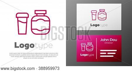 Logotype Line Sports Nutrition Bodybuilding Proteine Power Drink And Food Icon Isolated On White Bac