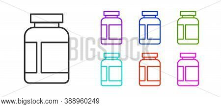 Black Line Sports Nutrition Bodybuilding Proteine Power Drink And Food Icon Isolated On White Backgr