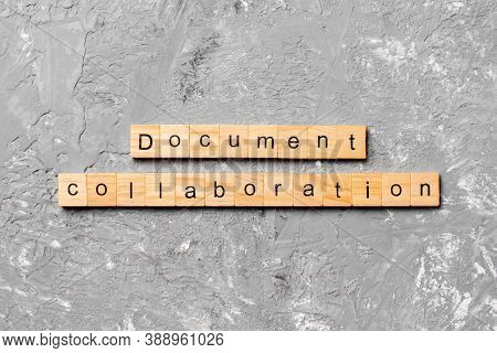 Document Collaboration Word Written On Wood Block. Document Collaboration Text On Cement Table For Y