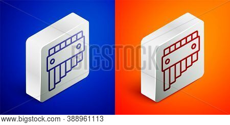 Isometric Line Pan Flute Icon Isolated On Blue And Orange Background. Traditional Peruvian Musical I