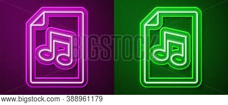 Glowing Neon Line Music Book With Note Icon Isolated On Purple And Green Background. Music Sheet Wit