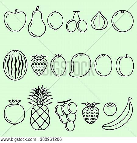 Fruits Outline, Sketch, Healthy, Non Veg, Tasty