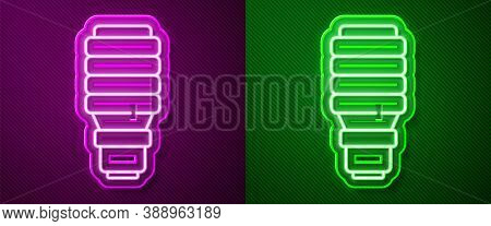 Glowing Neon Line Led Light Bulb Icon Isolated On Purple And Green Background. Economical Led Illumi