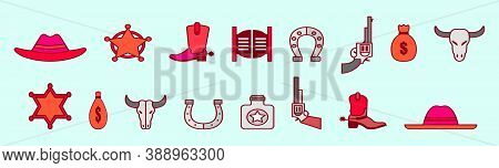 Set Of Rodeo Modern Cartoon Icon Design Template With Various Models. Vector Illustration Isolated O