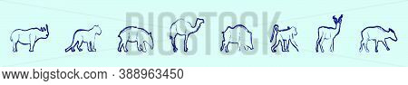 Set Of Animals Cartoon Icon Design Template With Monkey, Camel And More. Modern Vector Illustration