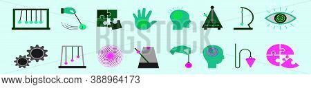 Schizophrenia And Psychology Modern Cartoon Icons Set With Various Models. Isolated Vector Illustrat