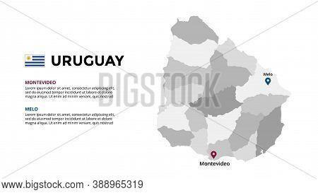 Uruguay Vector Map Infographic Template. Slide Presentation. Global Business Marketing Concept. Sout