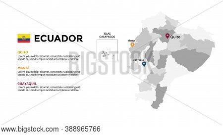 Ecuador Vector Map Infographic Template. Slide Presentation. Global Business Marketing Concept. Sout