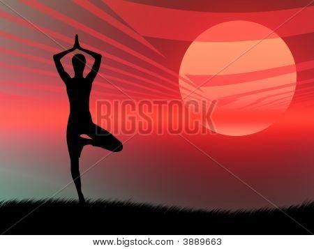Йога поза на закате