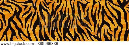 Animal Skin Print, Seamless Texture. Tiger Fur, Orange Stripes Pattern. Safari Repeating Background.