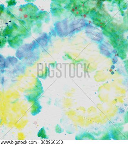Colorful Tie Dye. Hippie Design With Watercolor Spiral. Artistic Background. Tie Die Circular Textur