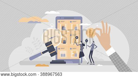 Online Auction Website As Sales Bidding And Purchase Place Tiny Persons Concept. E-commerce Auctione