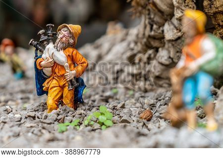 Miniature Of A Bagpiper On A Neapolitan Nativity Scene. The Art Of Neapolitan Nativity Of S. Gregori