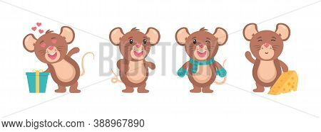 Mouse Cartoon Animal, Little Rodent Adorable, Happy Cheerful Mascot Vector Illustration. Funny Littl