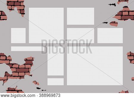 White Background With Empty Space For The Text. Grunge Seamless Texture. Mock-up Brick Cracked Old W
