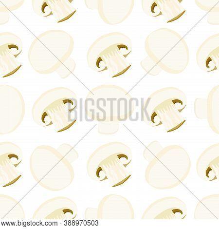Illustration On Theme Of Bright Pattern Mushroom, Vegetable Champignon For Seal. Vegetable Pattern C