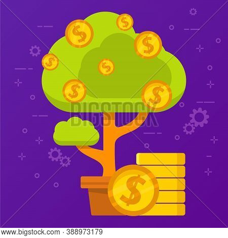 Monetary Tree. Concept Income Of Investment Of Money. Flat Illustration Vector.