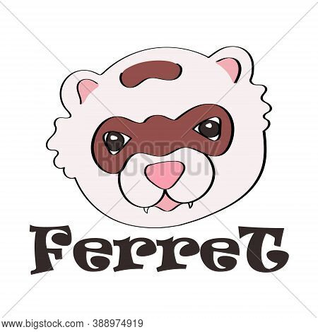 Vector Logo With The Image Of A Ferret And An Inscription On A White Background.