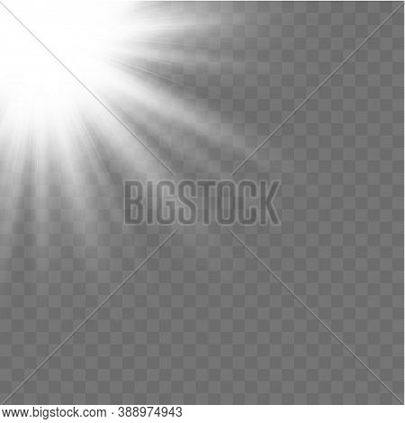 Horizontal Stellar Rays And Searchlight. Sunshine. Realistic White Glowing Light Explodes On A Trans