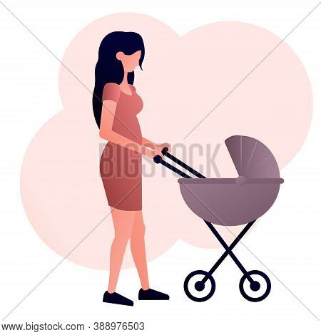 Vector Image Of A Young Mother With A Baby Carriage. Walking With Your Baby.