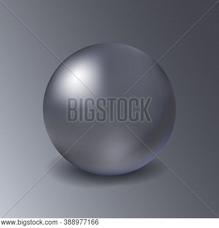 Blank Metal Mockup Sphere On Grey Background. Metalic Three-dimensional Object Steel Or Silver Ball.