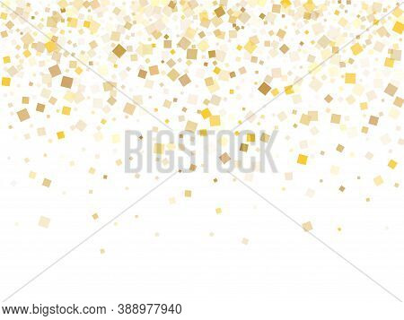 Geometric Gold Confetti Sequins Sparkles Scatter On White. Vip Christmas Vector Sequins Background.