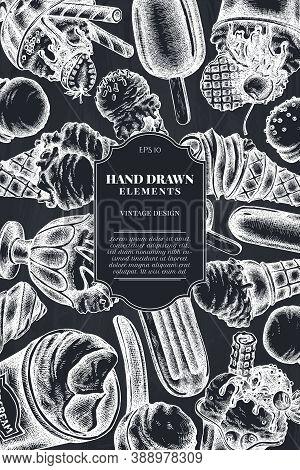 Card Design With Chalk Ice Cream Bowls, Ice Cream Bucket, Popsicle Ice Cream, Ice Cream Cones Stock