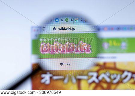 New York, Usa - 29 September 2020: Wikiwiki Wikiwiki.jp Company Website With Logo Close Up, Illustra