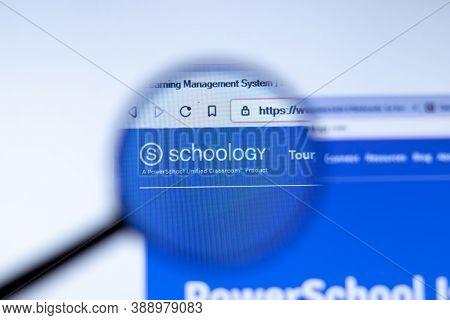 New York, Usa - 29 September 2020: Schoology Schoology.com Company Website With Logo Close Up, Illus